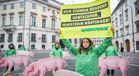 Greenpeace demonstriert gegen Gentechnik im Schweinetrog